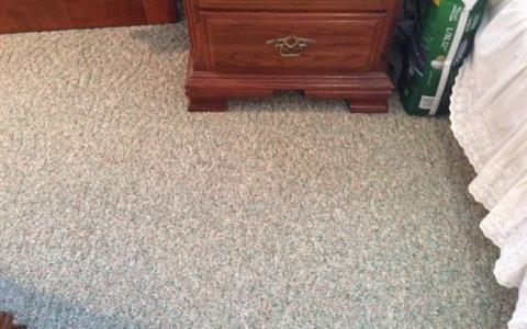 Red stain on carpet- after removal, virtually gone